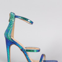 Liliana Snakeskin Hologram Triple Straps Single Sole Heel