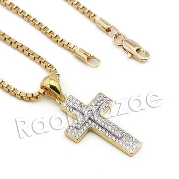 Lab diamond Micro Pave Double Jesus Cross Pendant w/ Miami Cuban Chain BR127