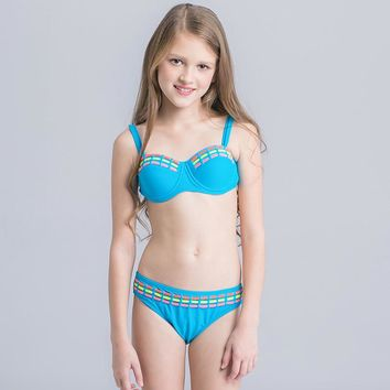 Big Girls Bikinis Set Swimwear 2017 New Sexy Girl Bikini Blue Bathing Suit Kids Children Summer Beach Wear CH010
