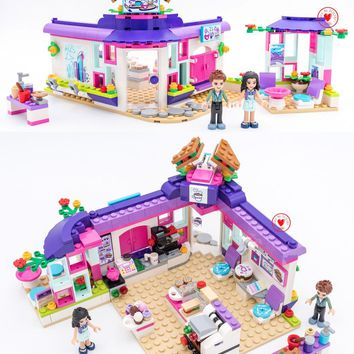 New Heartlake Art Cafe friends Girls fit 41336 fit legoings friends figures Set diy Building Blocks Bricks Kids Toys girls Gifts
