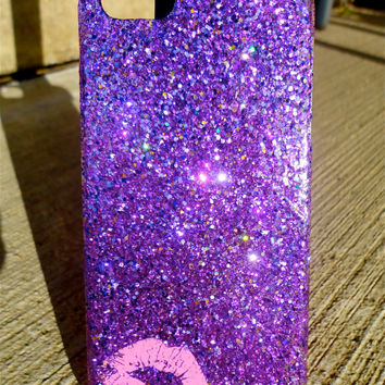 Sparkly Purple Kiss Hand Glittered iPhone 5 Snap by SparklingCases