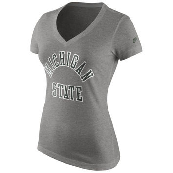 Michigan State Spartans Nike Women's Rewind Run Game Tri-Blend V-Neck Slim Fit T-Shirt – Gray