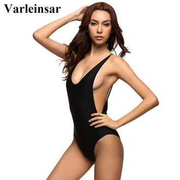 2017 Sexy 1 one piece swimsuit Backless swim suit for women Swimwear low cut back Bathing suit swim wear female Monokini V111