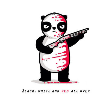'Black, White, and Red All Over' Funny Panda Bear w/ Shotgun Riddle Cartoon - Vinyl Sticker