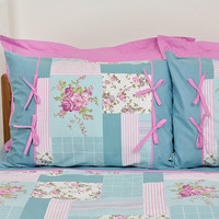 Floral Cottage Bedding Set in Mint, Teal Blue, Lilac Pink Rose Print for Queen, Full - 6-pcs Set of Duvet Cover, Sheet, Shams & Pillow Cases