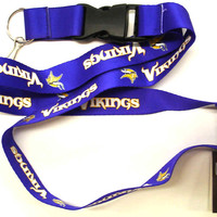 Caseys Minnesota Vikings Breakaway Lanyard With Key Ring