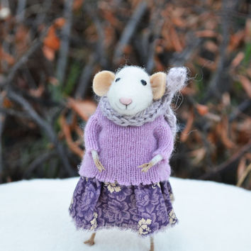 NEW Little Winter Mouse- Christmas Original artwork designed and created by Johana Molina- by Felting Dreams