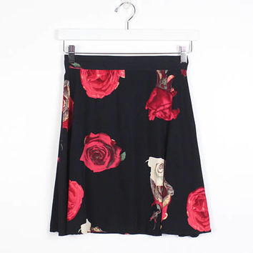 Vintage Skater Skirt 1990s Skirt Black Red Rose Ditsy Floral Print Mini Skirt High Waisted Skirt 90s Skirt Soft Grunge Skirt XS S Small M