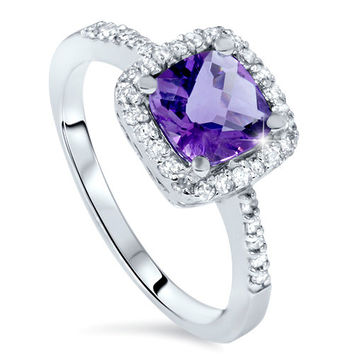 2.50CT Cushion Amethyst & Diamond Halo Vintage Antique Ring 14KT White Gold