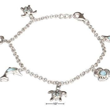 "Sterling Silver 7.5"" Turtle, Crab, And Dolphin Larimar Charm Bracelet"