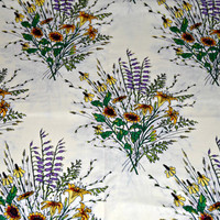 Beautiful 1990's Cotton Floral Fabric on Pale Yellow Background, Flower Bouquet , Quilting Material