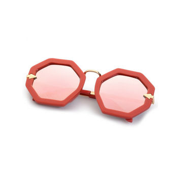 Red Hexagon Frame Sunglasses