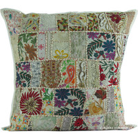"24"" Oversized Indian Vintage Patchwork Throw Cushion Cover Decor Art"