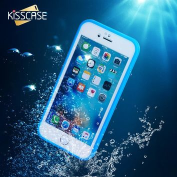 KISSCASE Ultra Thin Waterproof Case for iPhone 6 6s Transparent Soft TPU Diving Swimming Cases for iPhone 6 6s 7 8 Plus 5 5s se