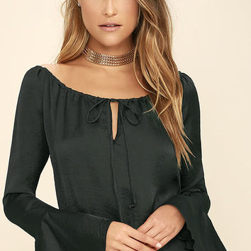 What a Stunner Charcoal Grey Satin Long Sleeve Top