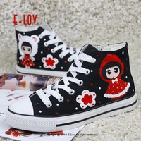 E-LOV cute girl with flower Painting Designs Hand-Painted Canvas Shoes Personalized Ad