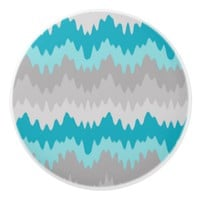 Teal Turquoise Blue Grey Gray Chevron Ombre Fade Ceramic Knob
