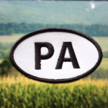 "Pennsylvania PA Patch - Iron or Sew On - 2"" x 3.5"" - Embroidered Oval Applique - Key Stone State Black White Hat Bag Accessory Handmade USA"