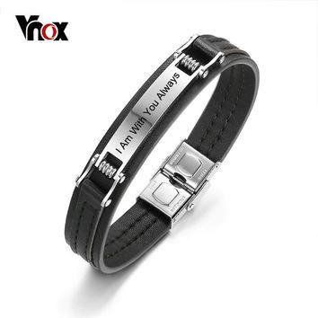 Vnox Personalized ID Bracelets for Men Real Genuine Leather Bangle Stainless Steel Identification Bar Casual Male Jewelry