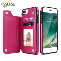 KISSCASE Leather Flip Stand Phone Case for iPhone 7 7 Plus for iPhone 6 6S Plus Case Card Slot Buckle Back Cover for iPhone 7 6S