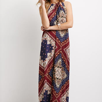 Baroque Print Halter Maxi Dress