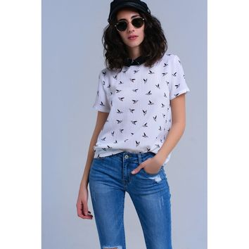 White shirt with printed birds
