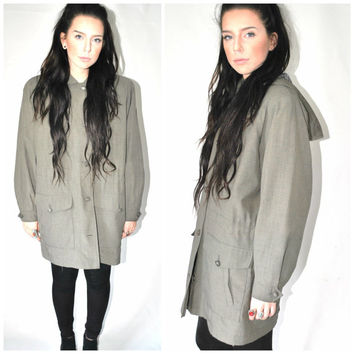 CINCHED waist windbreaker jacket vintage 90s MINIMAL army green relaxed fit GRUNGE plaid hooded parka os