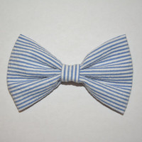 Blue Seersucker Hair Bow