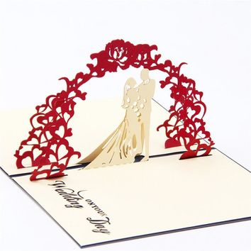 Wedding flower arch wedding invitation customise /3D pop up greeting card/ handmade wedding cards Free shipping KT0348