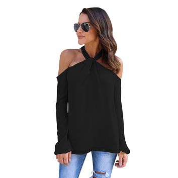 Black Knot Neckline Cold Shoulder Long Sleeve Top