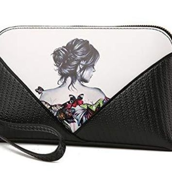 Unique Black Leather Clutch with Stunning Butterfly Tatoo'd Lady, Purse/Shoulder Bag