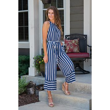 Yacht Ride Striped Cropped Jumpsuit : Navy