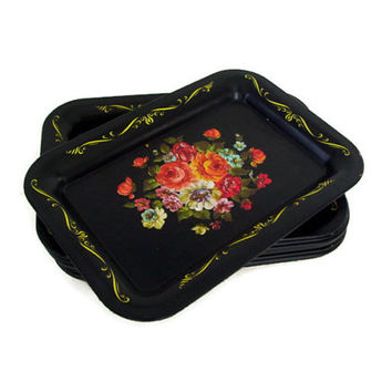 Vintage Tole Trays, Set of 13, Tin Snack Trays, Mid Century, Black and Roses, Cottage Chic, Wedding,