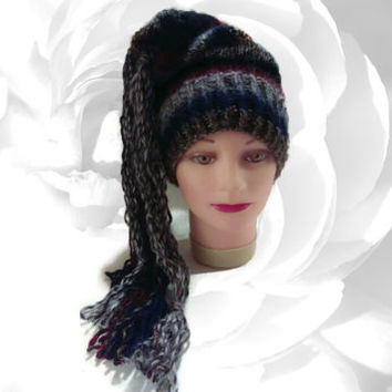Slouchy Hat, Striped Hat, Winter Hat, Hat With Tassels, Multicolor Hat, Blue Hat, Red Hat, Gray Hat, Black Hat, Gold Hat, Fuzzy Hat, Fun Hat