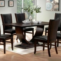 7 pc Isabella collection espresso finish wood pedestal dining table set with leather like vinyl upholstery