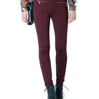Burgundy Pants with Zip Detail