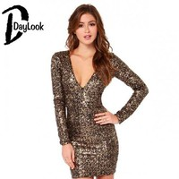 Daylook Trendy Style Night Club Sparkling Bodycon Dress Deep V neck Sequins Slim Fitted Package Hip Sheath Dress Party Vestidos