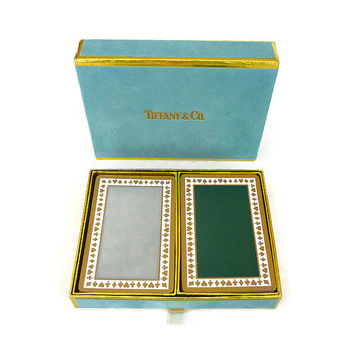 Tiffany and Co, Playing Cards, Card Set, Tiffany Blue, Velvet Slipcase, Gold Trim, Vintage Games, Deck of Cards, Collectible Cards