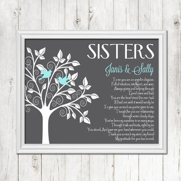 SISTERS gift print, Personalized gift for your Sister, Wedding Gift for Sister, Birthday Gift, CANVAS or Prints