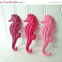 20% OFF Set of 3 Fuchsia Dragon Fruit Bubble Gum Cast Iron Seahorse Hooks- Nautical Decor, Nautical Bathroom, Beach Decor, Coastal Decor