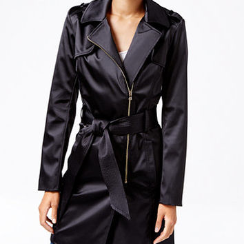 GUESS Raffie Satin Trench Coat | macys.com