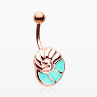 Rose Gold Aqua Nautilus Belly Button Ring