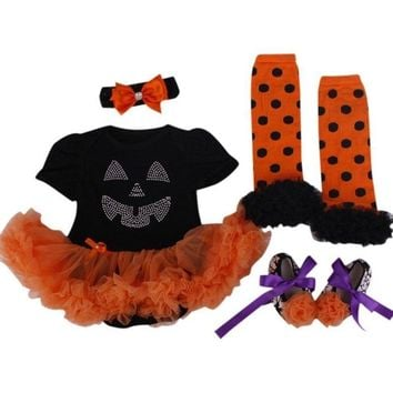 New Baby Girl Clothing Sets Halloween Costume Lace Romper Dress Tutu Set my 1st Halloween Pumpkin Jumpsuits Bebe Birthday Outfit