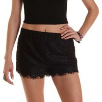 Black Pull-On Eyelash Lace Shorts by Charlotte Russe