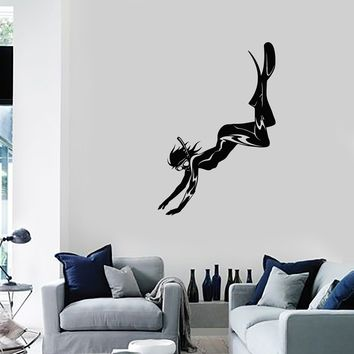 Vinyl Wall Decal Diver Girl Woman Scuba Underwater Diving Room Art Stickers Mural (ig5597)