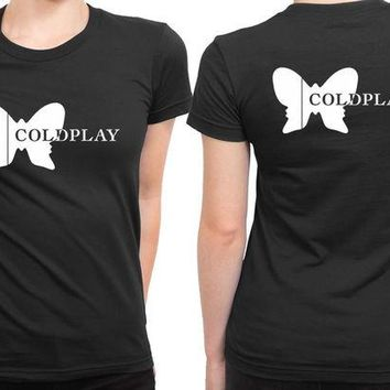 VONEED6 Coldplay Butterfly Logo 2 Sided Womens T Shirt