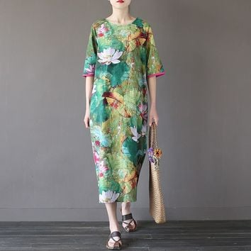 Green Lotus flower Print O-neck Women Long Dress Vintage Chinese style Loose Casual Summer Dress Plus size Cute Robe Femme A082
