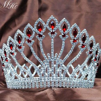 "Awesome Wedding Bridal Tiaras Full Round Crowns 5"" Red Rhinestones Clear Crystal Headband Miss Pageant Party Costumes"