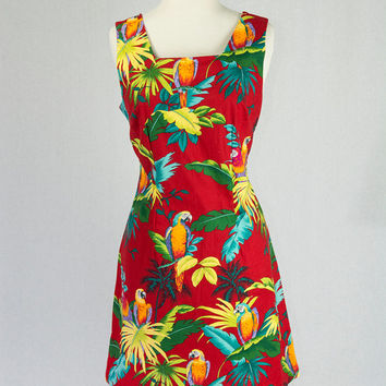 Vintage 1980's Hawaiian Dress Red Parrot Mini Aloha Sundress