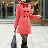 Pink Single-breasted Winter Coat/Woman coat/ Woman Jacket/Tunic/ Long Jacket/Short Jacket/ Long Sleeves/Woman Tunic